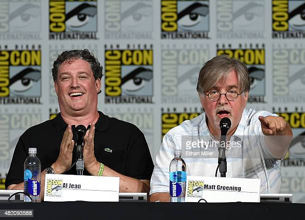 Producer/writer Matt Groening and filmmaker Guillermo del Toro attend 'The Simpsons' panel during ComicCon International 2015 at the San Diego...