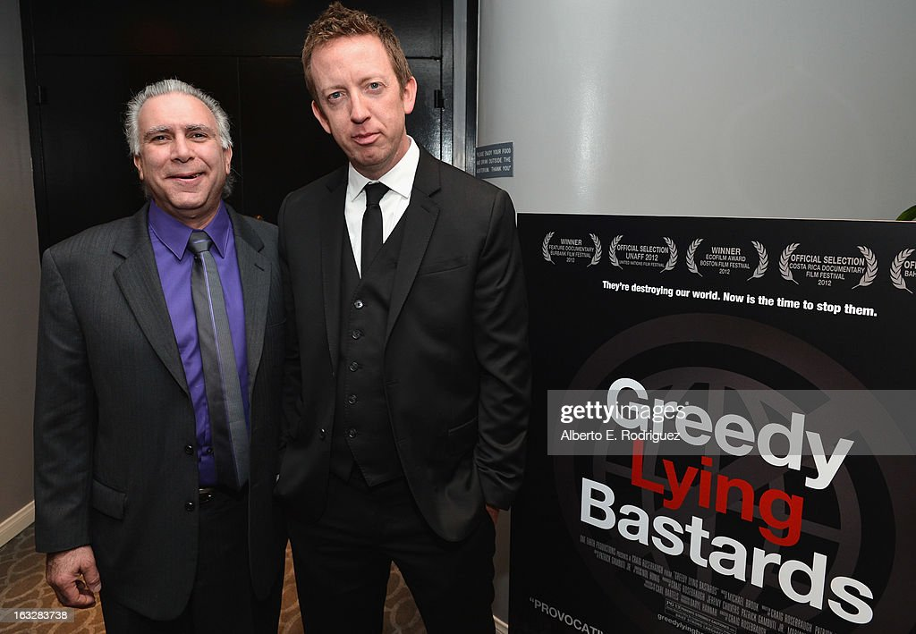 Producer/writer Patrick Gambutti, Jr. and director/writer Craig Scott Rosenbraugh attend a screening of 1 Earth Productions' 'Greedy Lying Bastards' at Harmony Gold Theatre on March 6, 2013 in Los Angeles, California.
