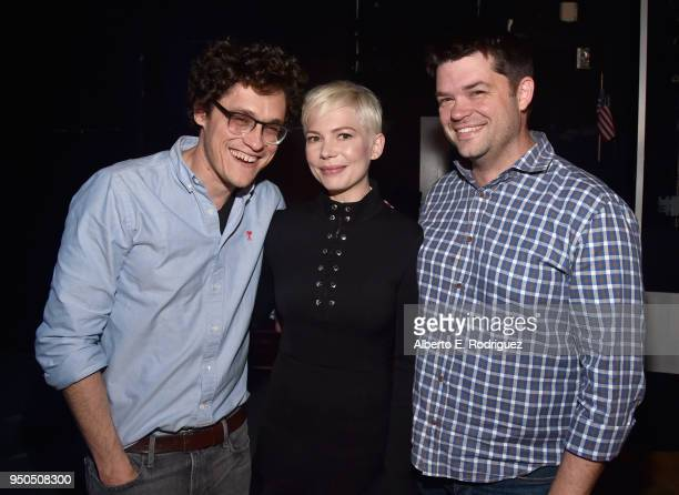 Producer/writer Phil Lord Actor Michelle Williams and Producer Chris Miller attend the CinemaCon 2018 Gala Opening Night Event Sony Pictures...