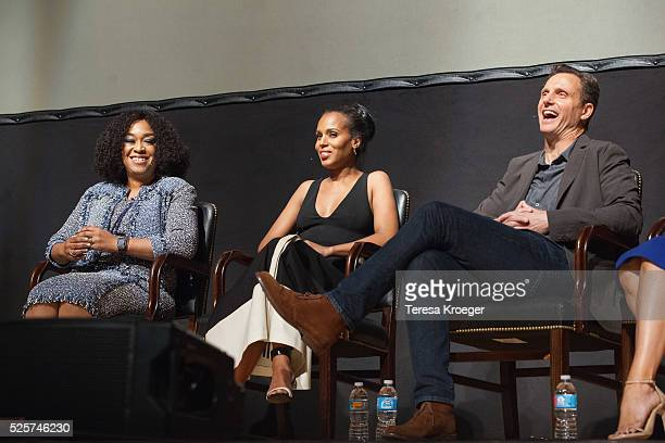 Producer/writer Shonda Rhimes actress Kerry Washington and actor Tony Goldwyn attend the Smithsonian Associates's 'Scandalous' discussion with the...