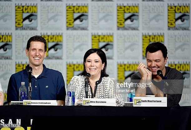 Producer/writer Steve Callaghan actress Alex Borstein and filmmaker Seth MacFarlane attend the Seth MacFarlane Animation Block panel during ComicCon...