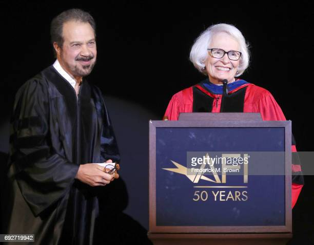 Producer/Writer/Director Edward Zwick and Jean Picker Firstenberg speak during AFI's Conservatory Commencement Ceremony at the TCL Chinese Theatre on...