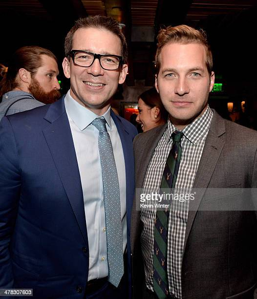 Producer/writer/director Rob Thomas and actor Ryan Hansen pose at the after party for the premiere of 'Veronica Mars' at Sadies Kitchen on March 12...