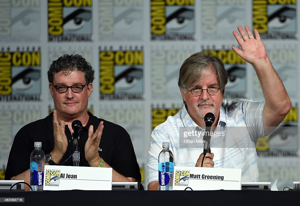 Producer/writers Al Jean (L) and Matt Groening attend 'The Simpsons' panel during Comic-Con International 2015 at the San Diego Convention Center on July 11, 2015 in San Diego, California.