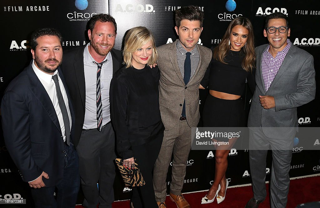 Produces Teddy Schwarzman and Ben Karlin, actors Amy Poehler, Adam Scott and Jessica Alba and director Stu Zicherman attend the premiere of the Film Arcade's 'A.C.O.D.' at the Landmark Theater on September 26, 2013 in Los Angeles, California.