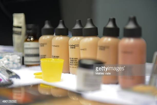 Product are displayed in the backstage ahead of the Gabriele Colangelo show during Milan Fashion Week Spring/Summer 2016 on September 26 2015 in...