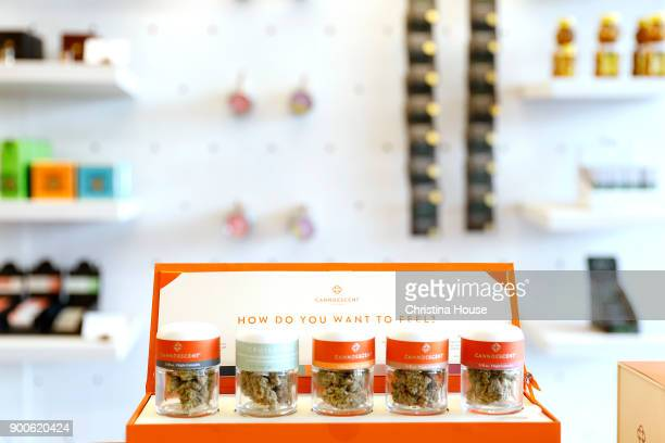 Product inside MedMen on the first day of recreational marijuana sales January 2 2018 in West Hollywood California