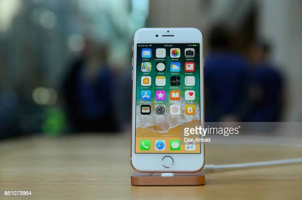 Product is displayed during the release of the iPhone 8 and 8 Plus at Apple Store on September 22 2017 in Sydney Australia Apple's latest iPhone...