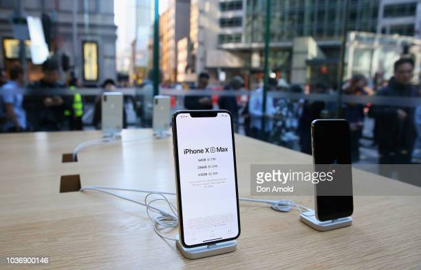 Product is seen displayed as crowds wait in anticipation for the Australian release of the latest iPhone models at Apple Store on September 21 2018...