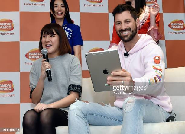 Product manager Seuson Shin and dancer Maksim Chmerkovskiy attends a news conference celebrating the 1st Anniversary of One Piece Thousand Storm at...