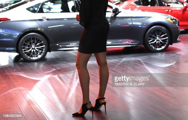 A product specialist in the Genesis booth at the 2019 The North American International Auto Show January 15 2019 at the Cobo Center in Detroit...
