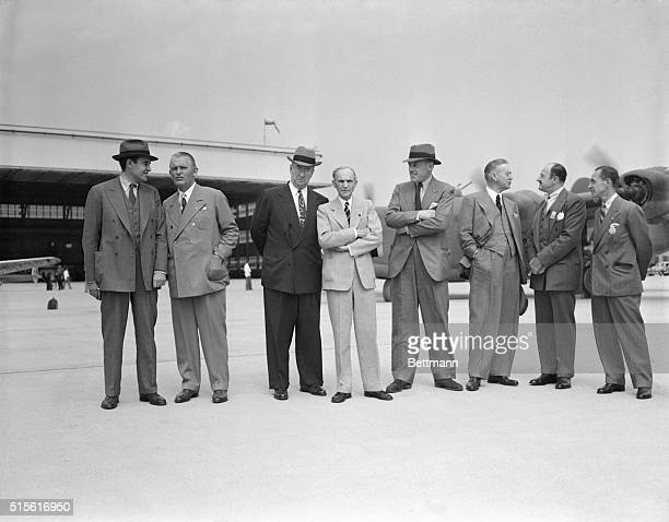 Production chiefs visit Ford plant...Allied war production chiefs visit Henry Ford at the new Willow Run bomber plant. They are W. Averill Harriman,...