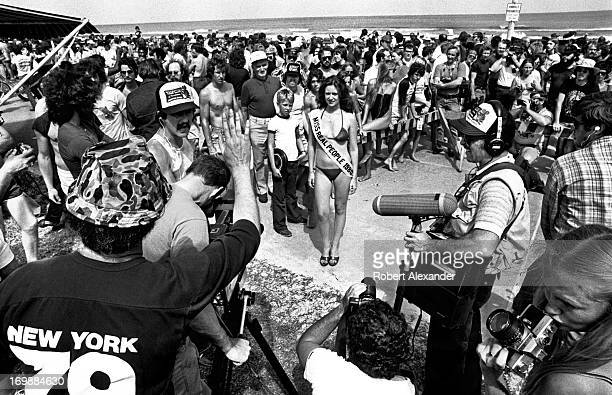 A production crew for the ABC television network series 'Real People' videotapes 'Miss Real People 1980' for a segment of the show shot in Daytona...