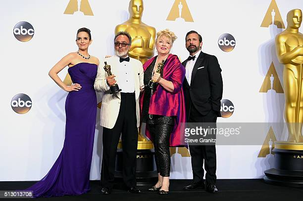 Production designer Colin Gibson and set decorator Lisa Thompson winners of the Best Production Design award for 'Mad Max Fury Road' pose with...