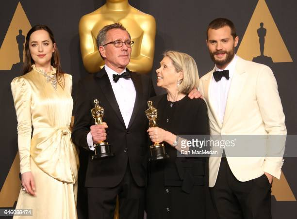 Production designer David Wasco and set decorator Sandy ReynoldsWasco winners of the award for Production Design for 'La La Land' pose with...