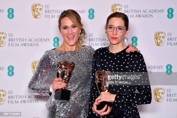 Production designer Fiona Crombie and set decorator Alice Felton pose with their awards for Production Design for their work on the film 'The...