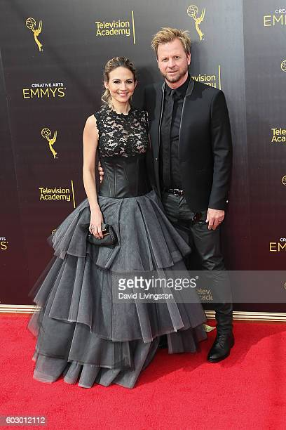 Production Designer Gary Kordan and Justine Ungaro attend the 2016 Creative Arts Emmy Awards Day 2 at the Microsoft Theater on September 11 2016 in...