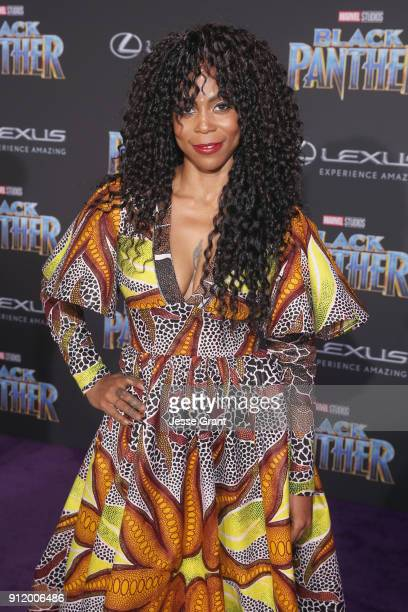 Production designer Hannah Beachler at the Los Angeles World Premiere of Marvel Studios' BLACK PANTHER at Dolby Theatre on January 29 2018 in...