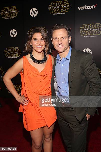 "Production designer Jane Musky and actor Tony Goldwyn attend the World Premiere of ""Star Wars The Force Awakens"" at the Dolby El Capitan and TCL..."
