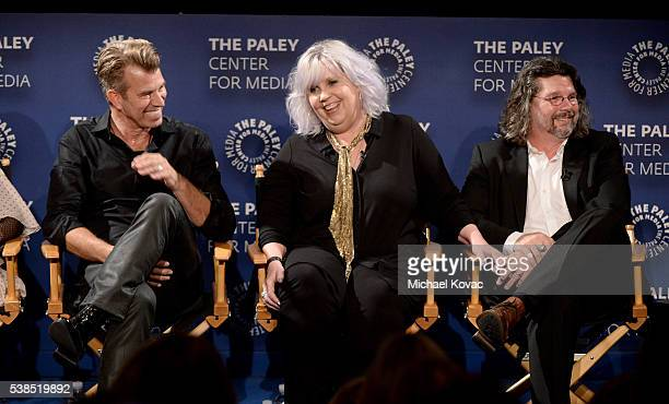 Production designer Jon Gary Steele, costume designer Terry Dresbach, and executive producer Ronald D. Moore attend The Paley Center for Media...