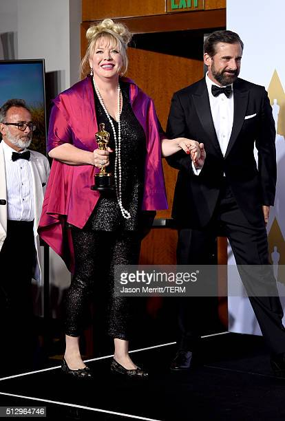 Production designer Lisa Thompson winners of Best Production Design for 'Mad Max' and actor Steve Carell pose in the press room during the 88th...