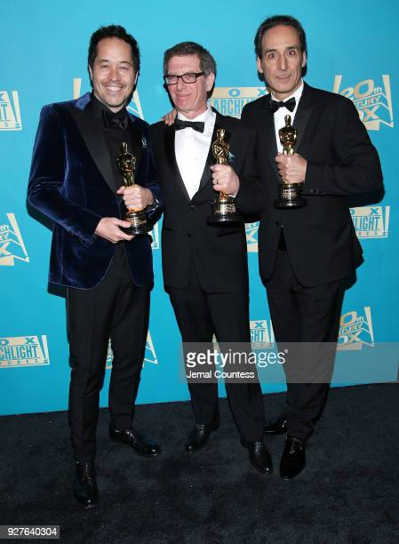 Production designer Paul Austerberry set designer Jeffrey A Melvin and composer Alexandre Desplat attend the Fox Searchlight And 20th Century Fox...