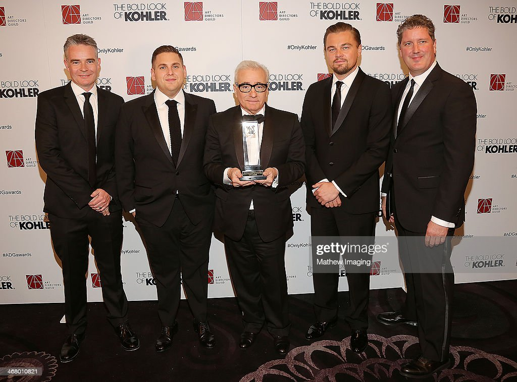 Production Designer Raf Lydon, actor Jonah Hill, Cinematic Imagery Award Honoree Martin Scorsese, actor Leonardo DiCaprio and Production Designer Dave Blass at the 18th Annual ADG Awards held at The Beverly Hilton Hotel on February 8, 2014 in Beverly Hills, California.
