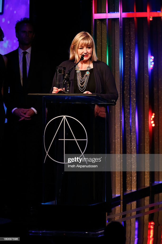 Production Designer Sarah Greenwood accepts the award for Excellence in Production Design for a Period Feature Film 2012 - Anna Karenina onstage at the 17th Annual Art Directors Guild Awards, held at The Beverly Hilton Hotel on February 2, 2013 in Beverly Hills, California.