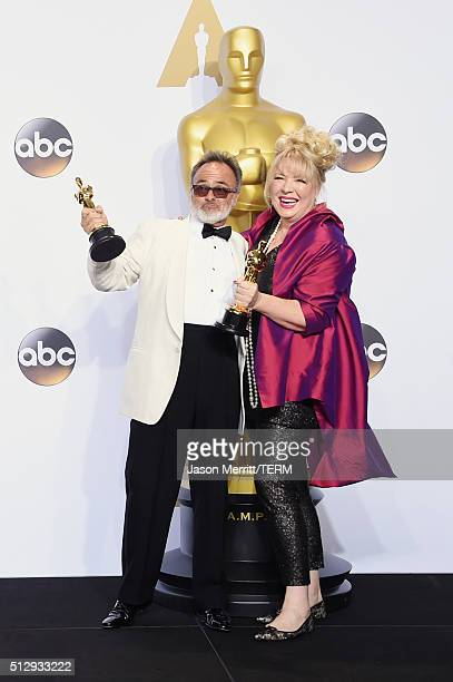 Production designers Colin Gibson and Lisa Thompson winners of Best Production Design for 'Mad Max' pose in the press room during the 88th Annual...