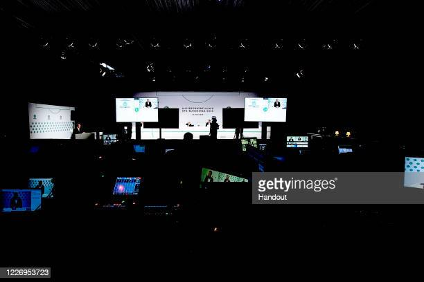 Production equipment is seen whilst DFL CEO and DFB vice president Christian Seifert, DFB vice president Peter Peters, DFB president Fritz Keller,...