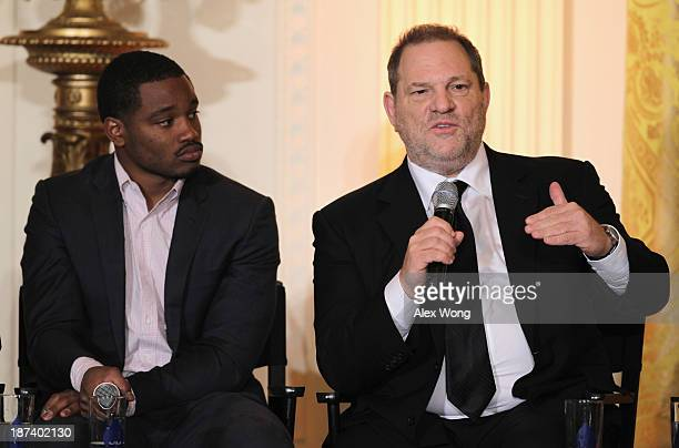 Production executive Harvey Weinstein speaks as director Ryan Coogler listens during a workshop for high school students from DC New York and Boston...