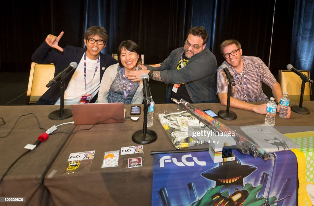 Production I.G President Mitsuhisa Ishikawa, Production I.G. VP/producer, Maki Terashima-Furuta, Adult Swim's Jason Demarco and Gail Austin attend the FLCL3 Panel discussion at the Anime Expo 2017 at Los Angeles Convention Center on July 2, 2017 in Los Angeles, California.