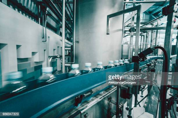 Production Line and Machines in Water Bottling Factory