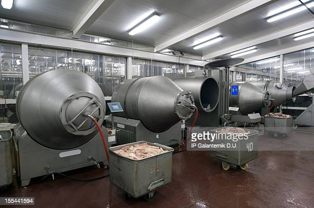Production line in a food factory. Meat products preparation