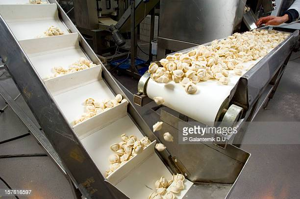 Production line in a food factory. Ravioli preparation.