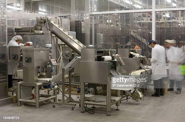 生産ラインでのお食事の工場。