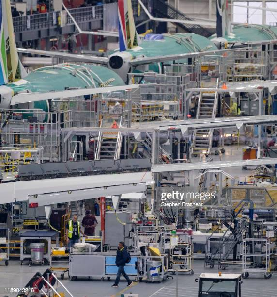MAX production line inside the Boeing factory is pictured on December 16 2019 in Renton Washington The company announced it is suspending production...