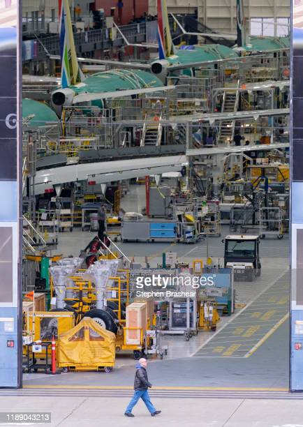 MAX production line inside the Boeing factory is seen on December 16 2019 in Renton Washington The company announced it is suspending production of...
