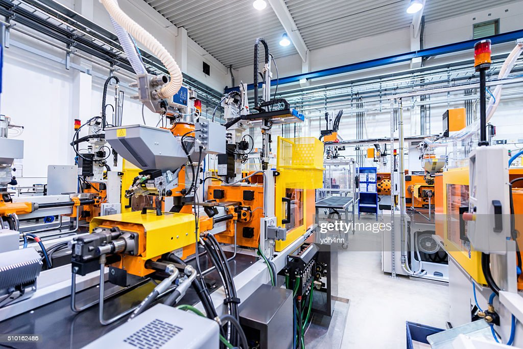 Production line of plastic industry : Stock Photo