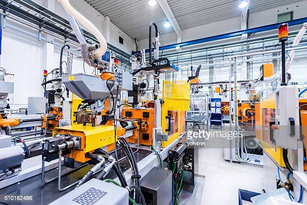 production line of plastic industry - plastic stockfoto's en -beelden