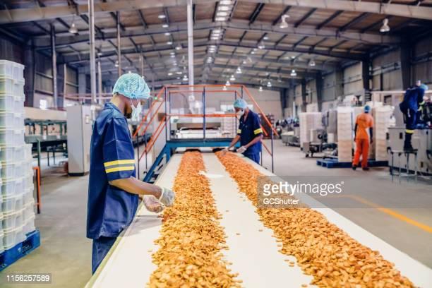 produktionslinienarbeiter in einer keksfabrik in afrika - fließbandfertigung stock-fotos und bilder