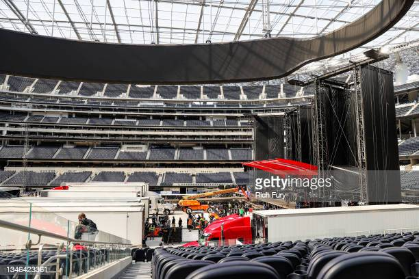 Production load-in and stage preparations for The Rolling Stones' shows at SoFi Stadium are seen on October 13, 2021 in Inglewood, California.