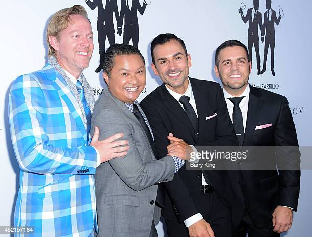 Production manager Kris Andersson actor Alec Mapa Jeff Zarrillo and Paul Katami attend the wedding celebration of Paul Katami And Jeff Zarrillo on...