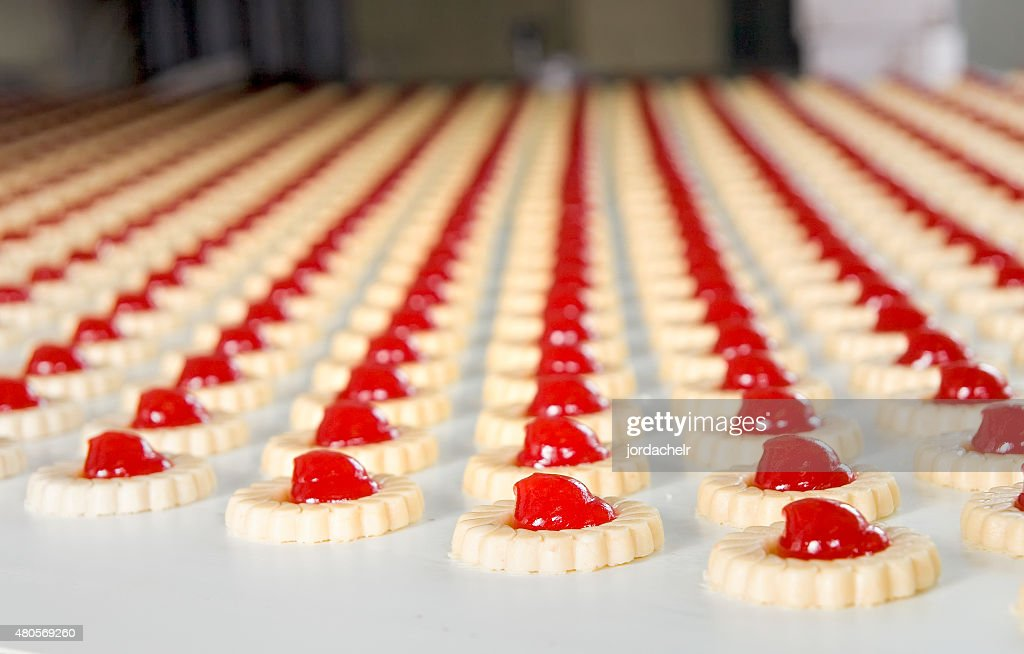 Production of biscuits : Stock Photo