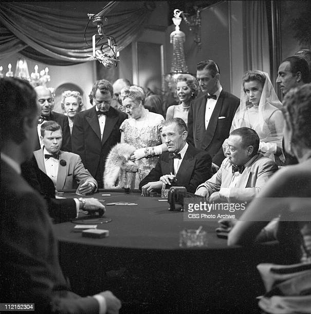 Production of 'Casino Royale' featuring Barry Nelson as James Bond and Peter Lorre as Le Chiffre. Image dated October 21, 1954.