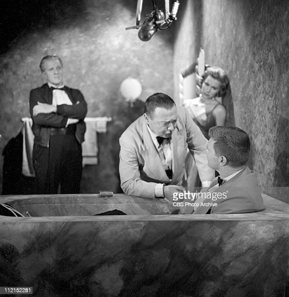 Production of 'Casino Royale' featuring Peter Lorre as Le Chiffre, Barry Nelson as James Bond and in background, Linda Christian as Valerie Mathis....