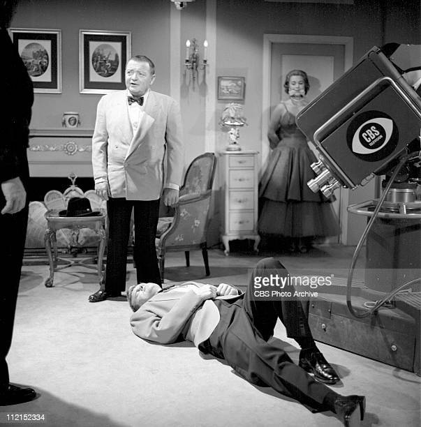 CLIMAX production of 'Casino Royale' featuring Peter Lorre as Le Chiffre Barry Nelson as James Bond and in background Linda Christian as Valerie...