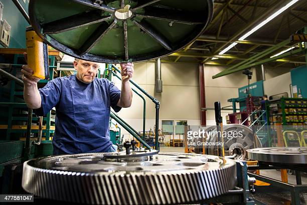 Production of gear wheels at the Heidelberger Druckmaschinen AG on January 14 2014 in Heidelberg Germany Heidelberger Druckmaschinen AG English...
