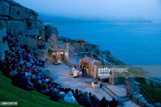 production of gogol's the government inspector at the minack theatre - minack theatre stock pictures, royalty-free photos & images