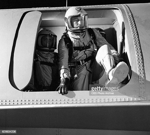 Production shots of the CBS Television science fiction program Men Into Space in the episode Building A Space Station. Pictured is Don Dubbins ....